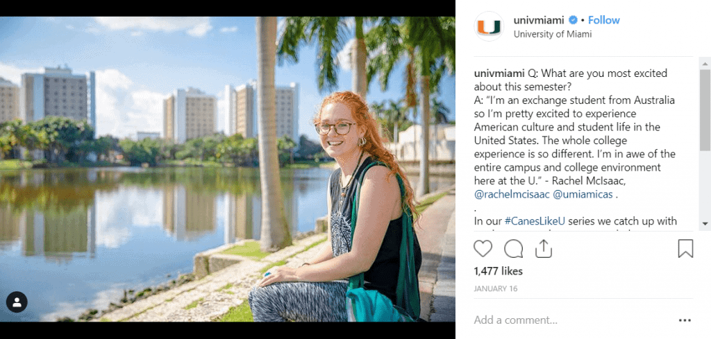 University of Miami Instagram Post