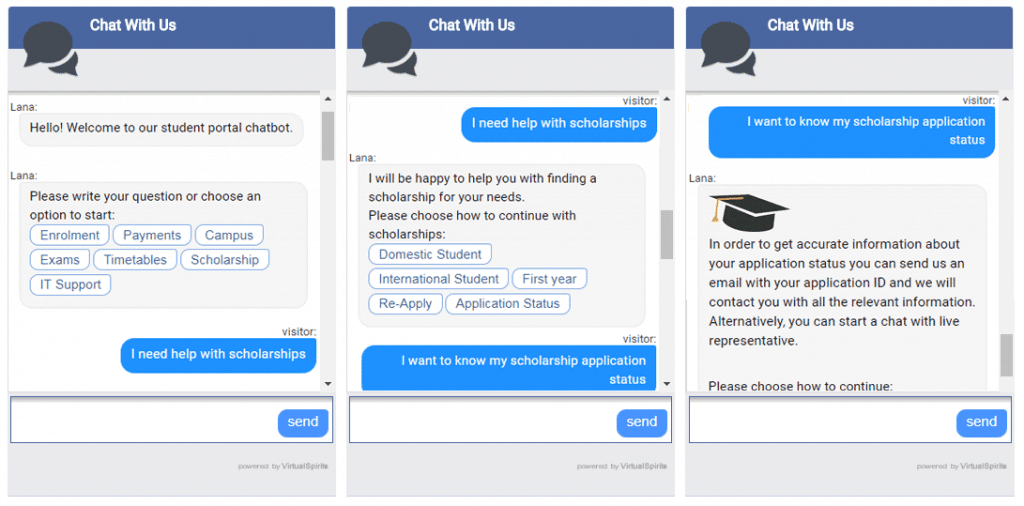 Higher education chatbots