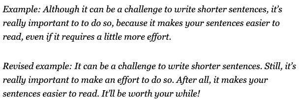 Example of shorter sentences for SEO Content Writing