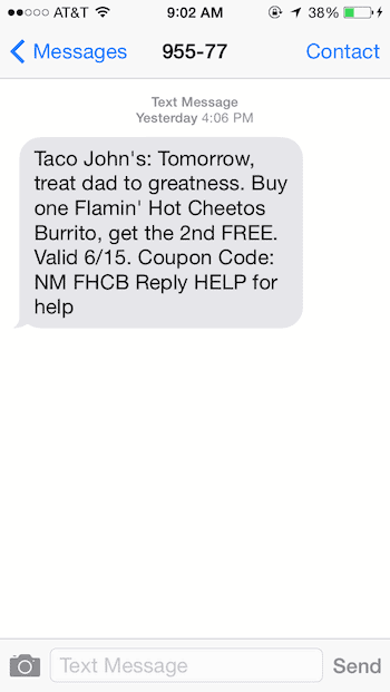 sms marketing promotion example