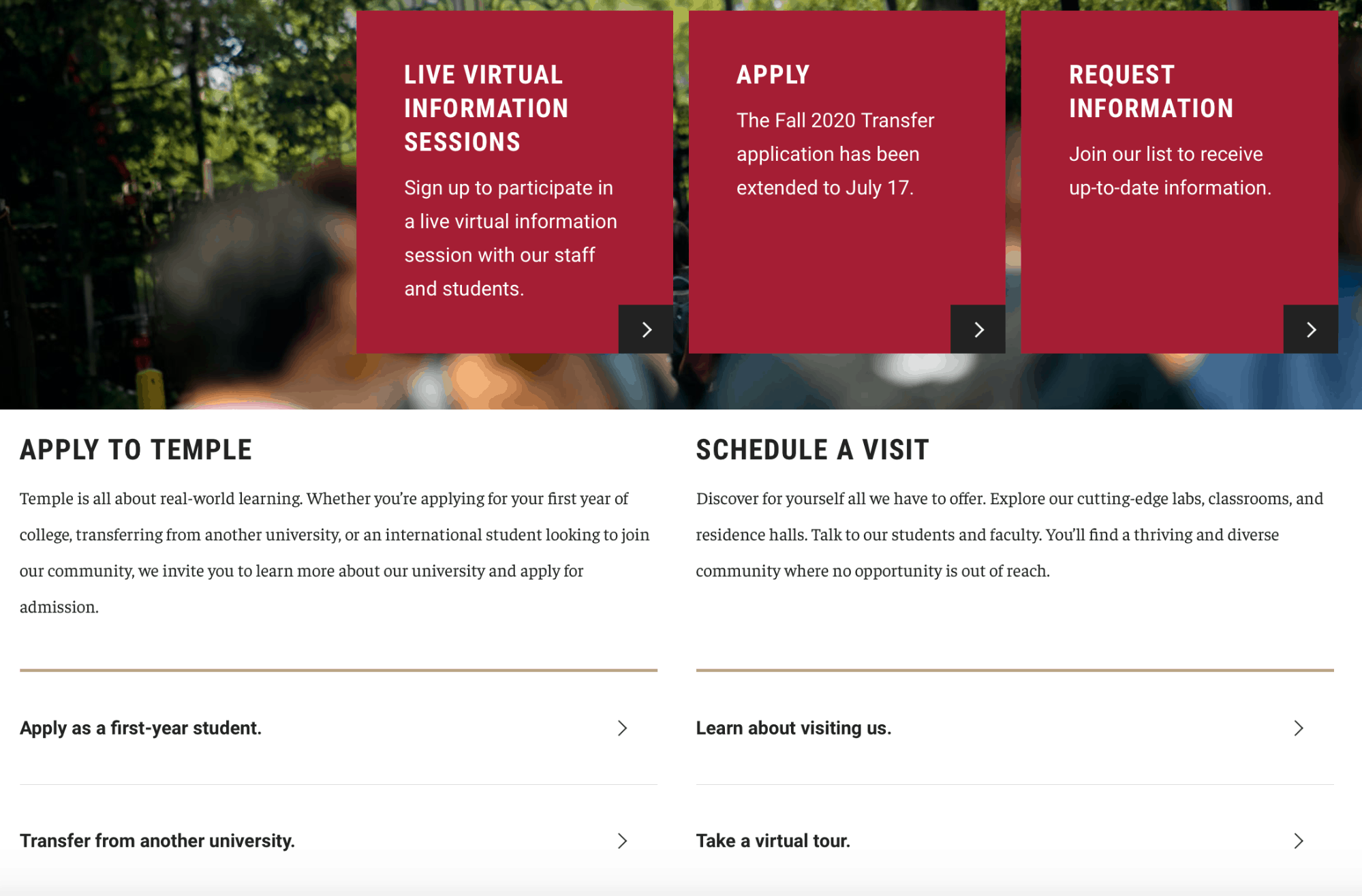 Temple University website for marketing to potential college students
