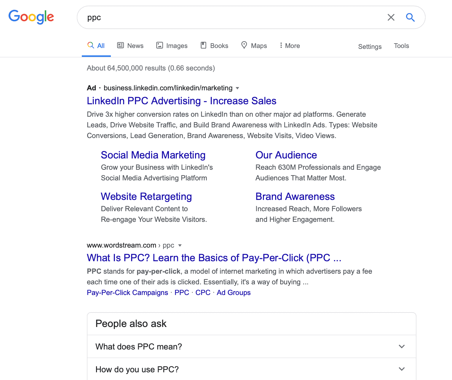 Google search result for PPC campaign with paid ad