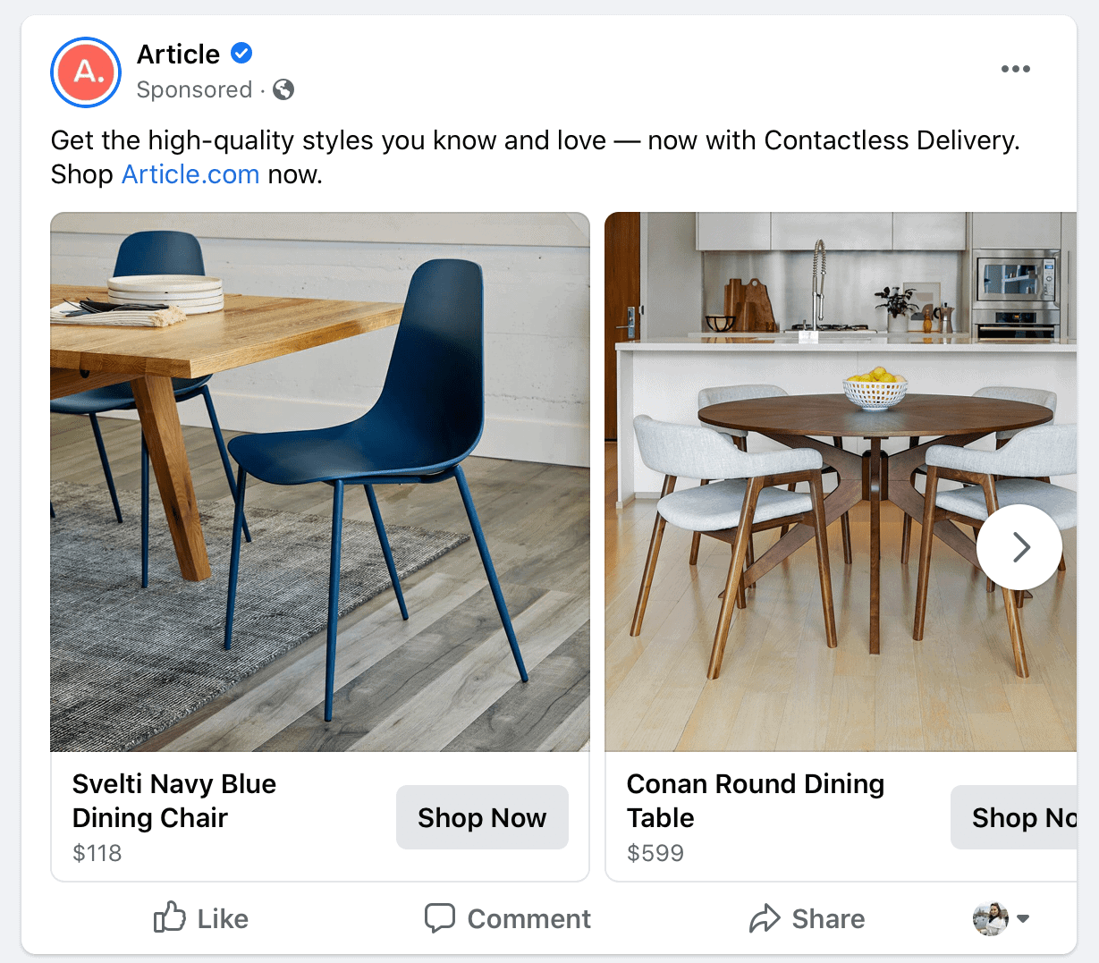 targeted Facebook PPC ad for furniture