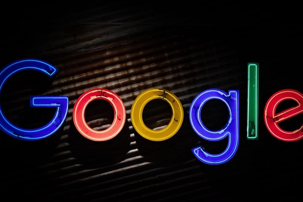 The google logo in front of a dark background