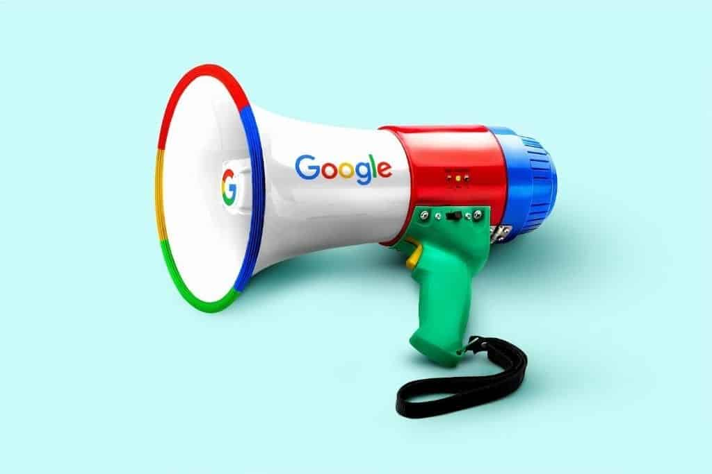 A megaphone with Google written on it