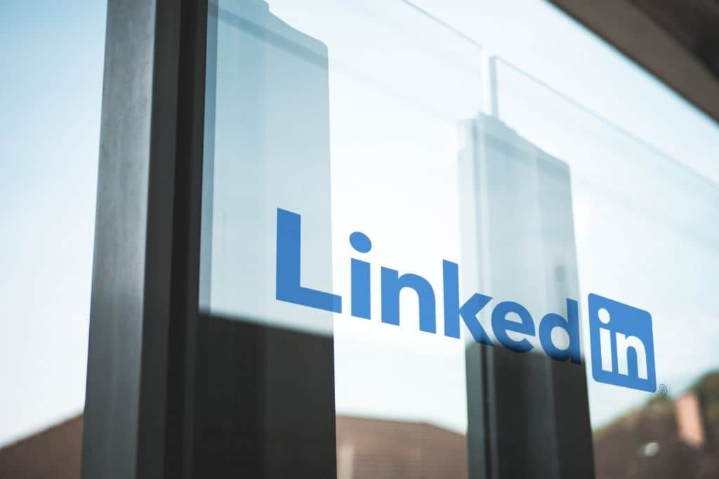 A glass door with the LinkedIn logo on it