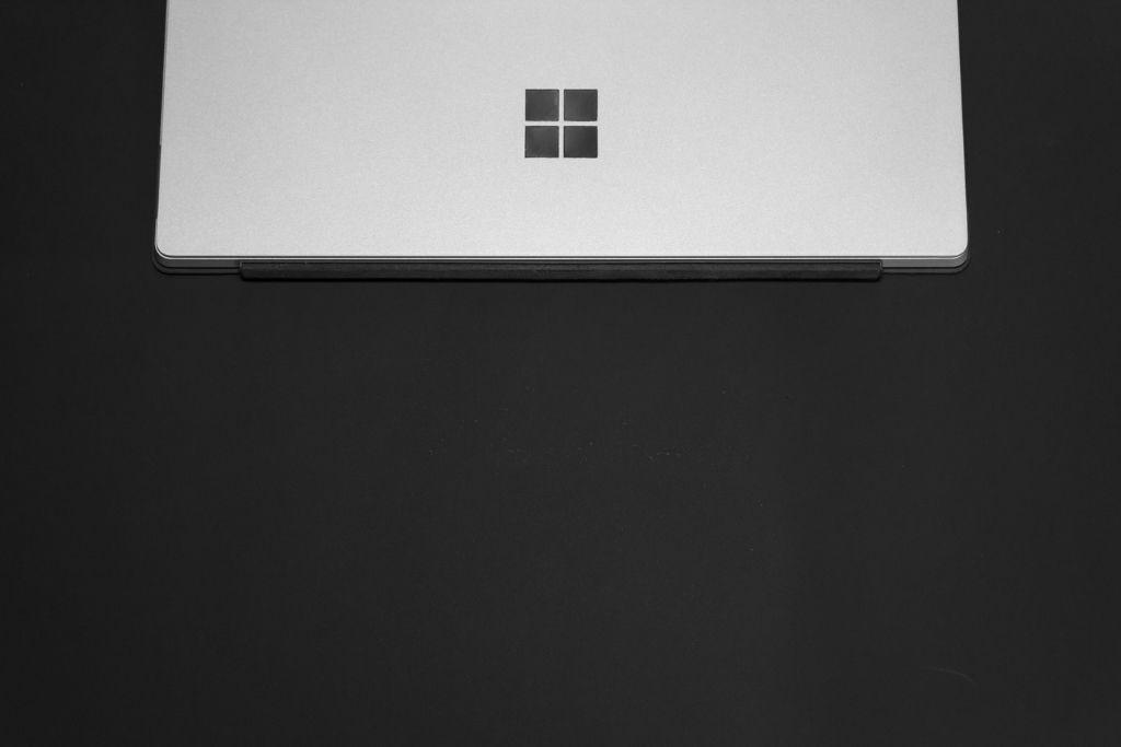Microsoft laptop on a desk