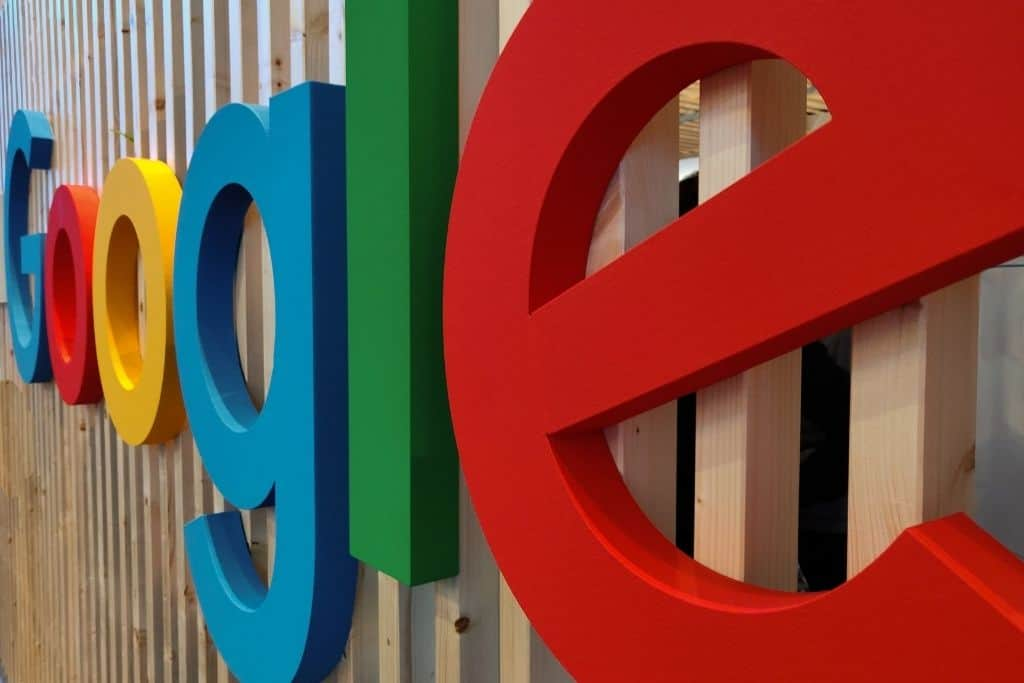 A Google logo on an outdoor wall
