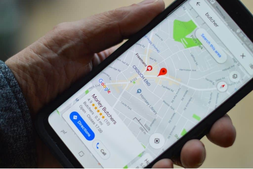 Google maps being shown on a phone screen